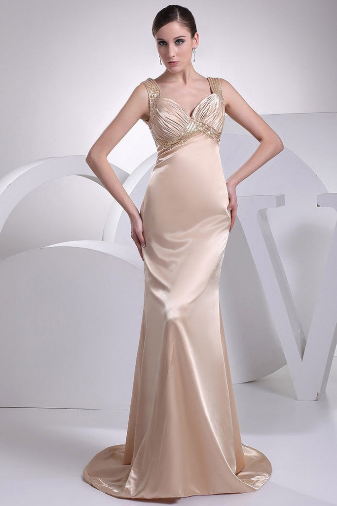 Champagne V-neck Mermaid Prom Long Dress