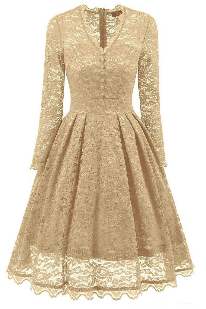 Champagne V-neck Prom Dress With Long Sleeves