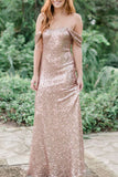 Champagne Backless Off The Shoulder Sequins Bridesmaid Prom Dress Dresses