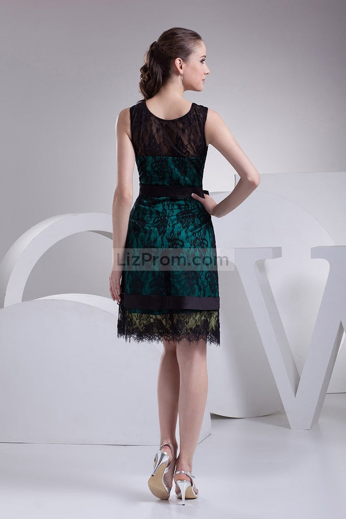 Chic Black Lace A-line Sleeveless Short Prom Dress1