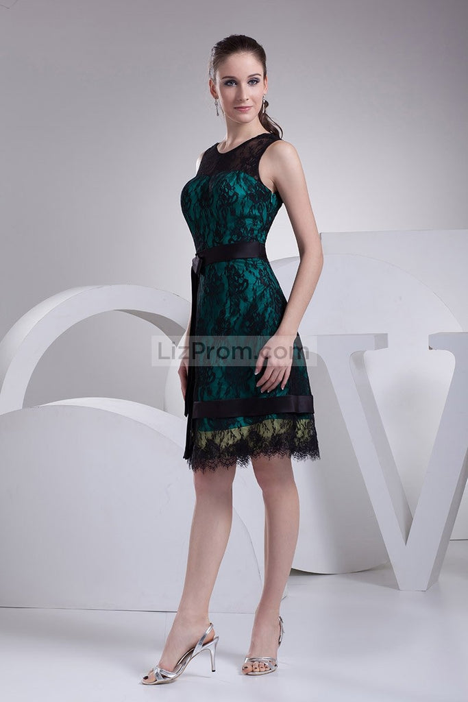 Chic Black Lace A-line Sleeveless Short Prom Dress2