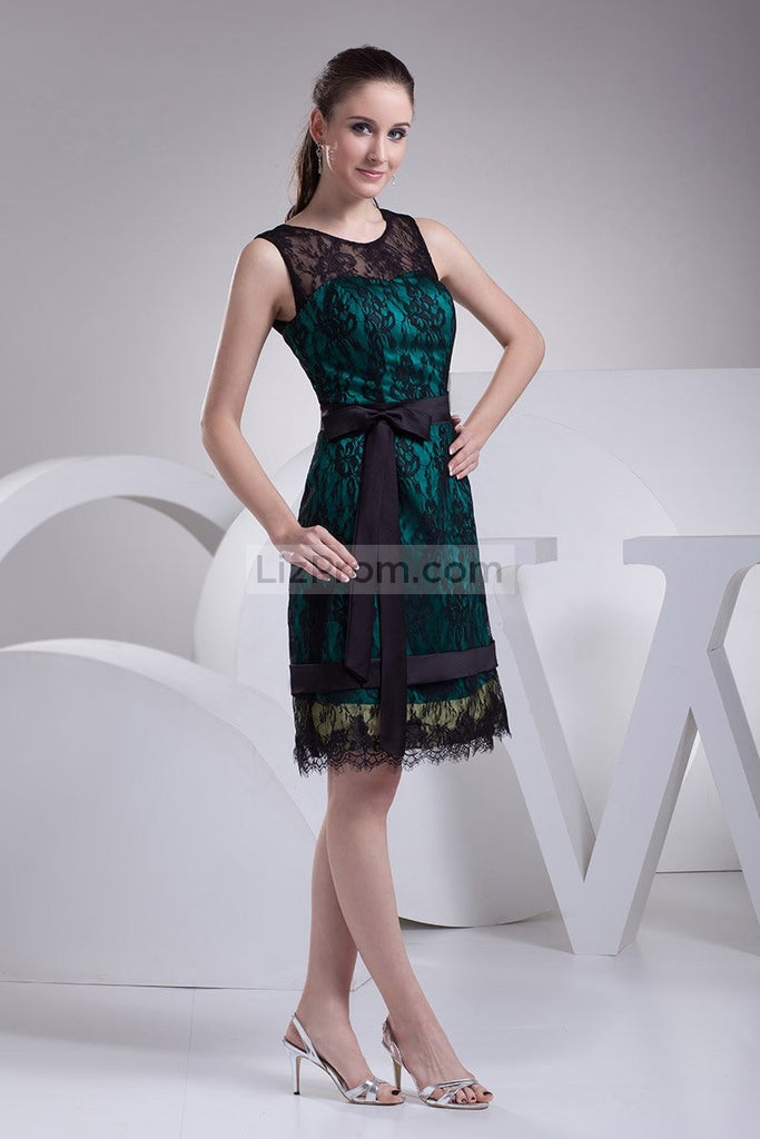 Chic Black Lace A-line Sleeveless Short Prom Dress3