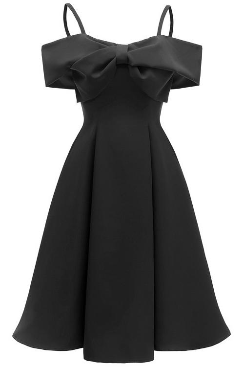 Chic Black Off-the-shoulder A-line Prom Dress