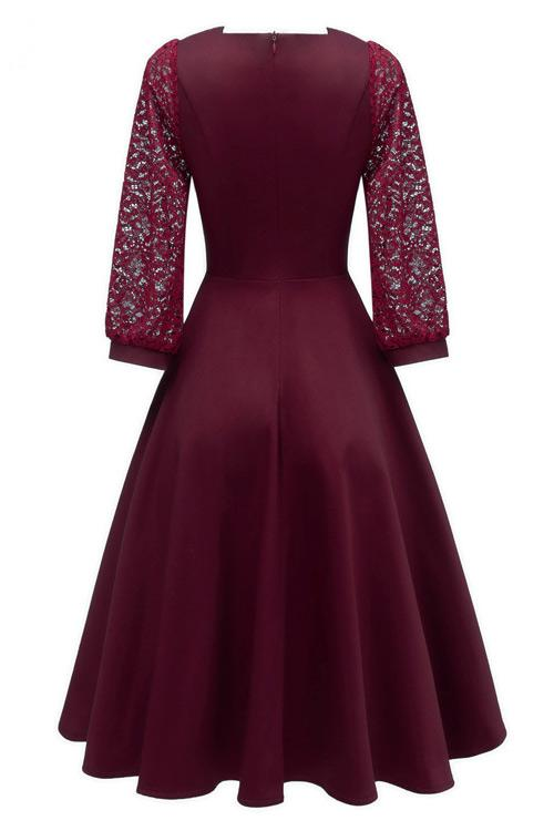 Chic Burgundy A-line Homecoming Dress With Long Sleeves