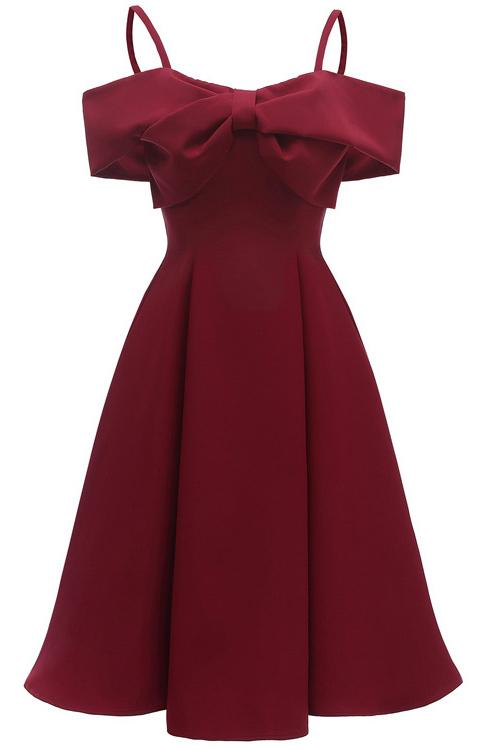 Chic Burgundy Off-the-shoulder A-line Prom Dress