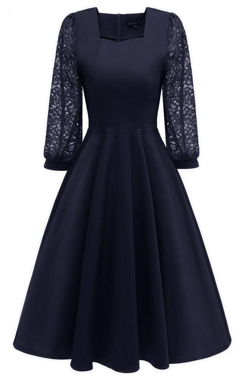 Chic Dark Navy A-line Homecoming Dress With Long Sleeves