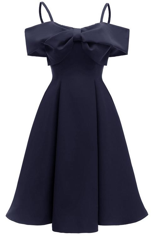 Chic Dark Navy Off-the-shoulder A-line Prom Dress