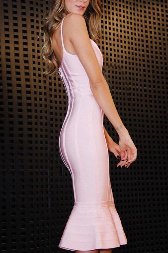 Chic Pink Mermaid Party Cocktail Bandage Dress