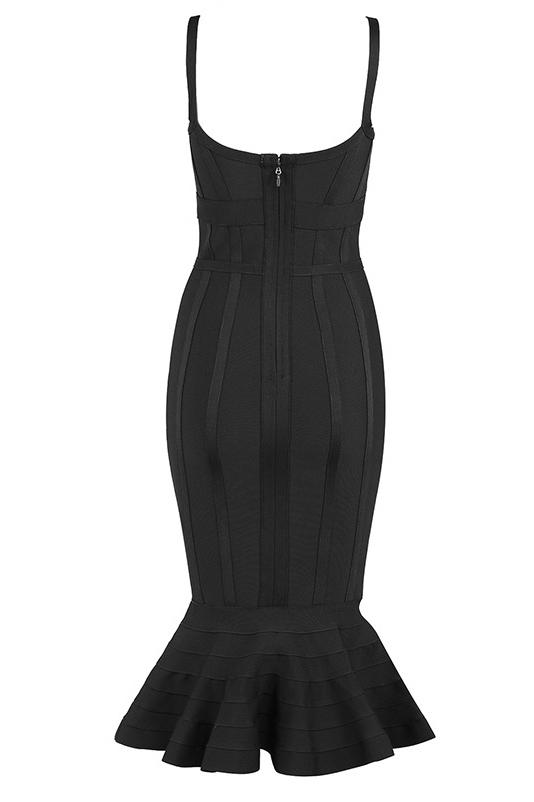 Chic Black Mermaid Party Cocktail Bandage Dress