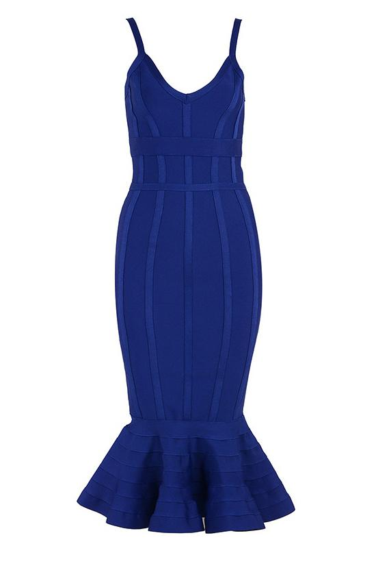 Chic Blue Mermaid Party Cocktail Bandage Dress