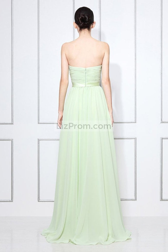Mint Strapless Ruffled Long Bridesmaid Prom Dress