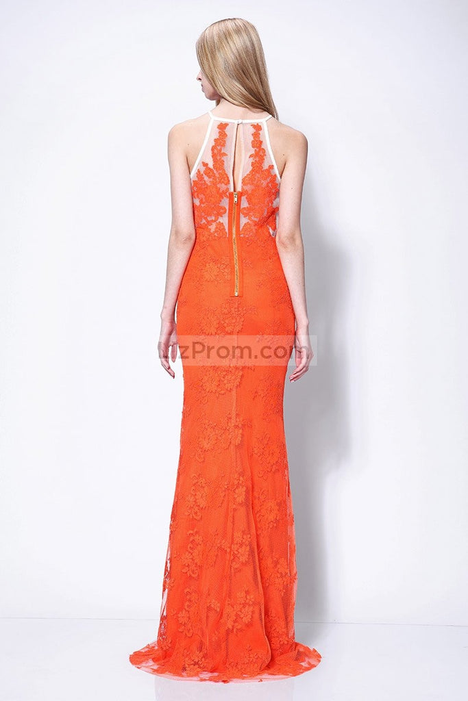 Orange Long Lace Column Halter See Through Prom Dress