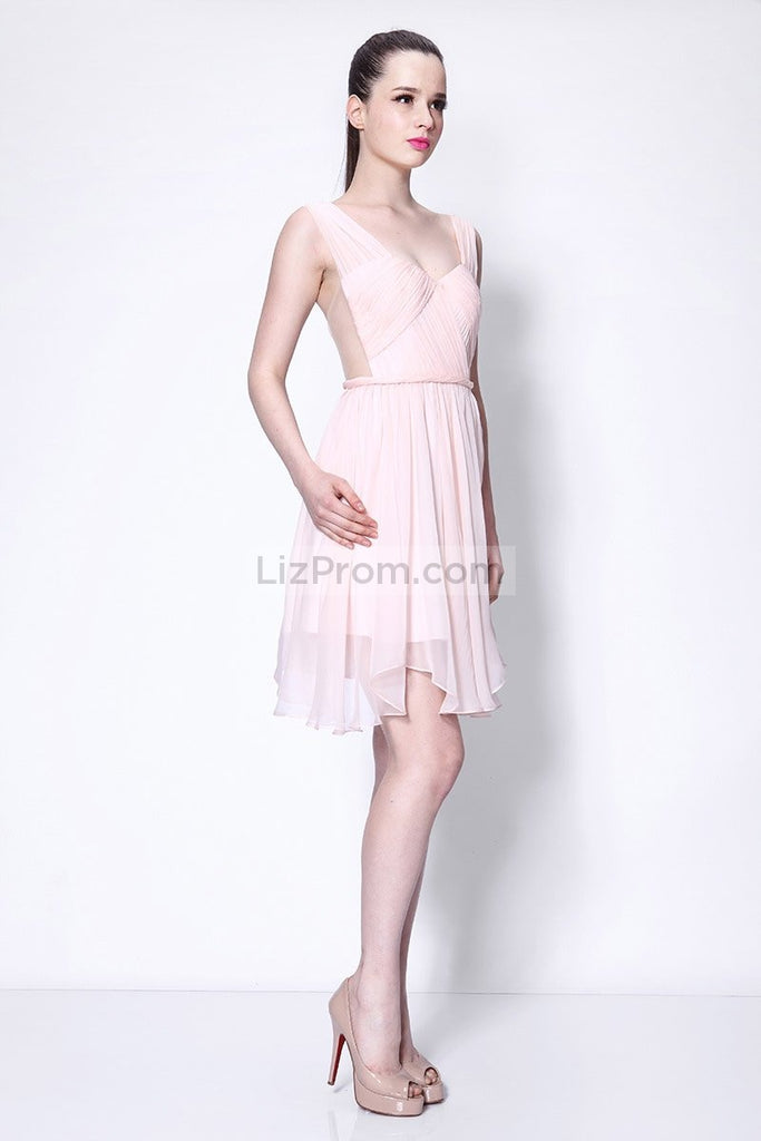 Pearl Pink A-line Homecoming Party Sweet 16 Prom Short Dress