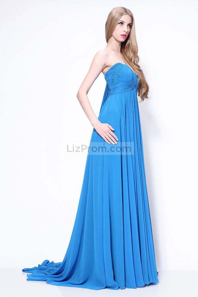 Strapless Pleated Blue A-line Prom Bridesmaid Dress