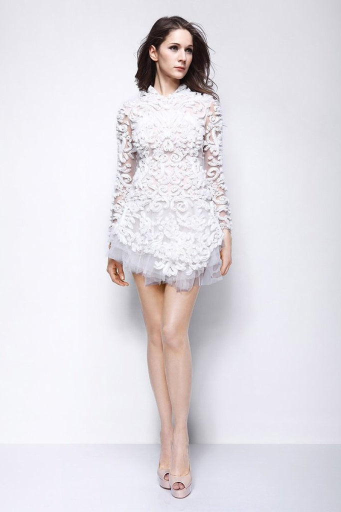 White Tulle Mini Dress Homecoming Dress With Long Sleeves
