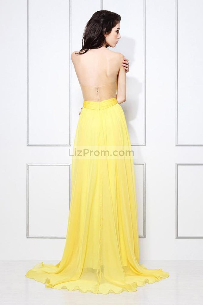 Yellow Strapless A-line Bridesmaid Formal Dress