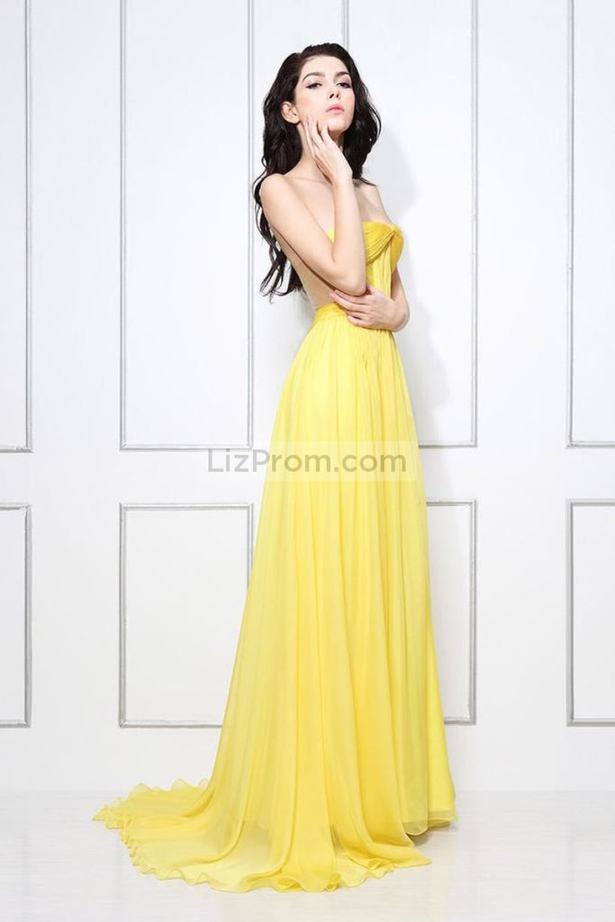 Yellow Strapless A-Line Bridesmaid Formal Dress Dresses