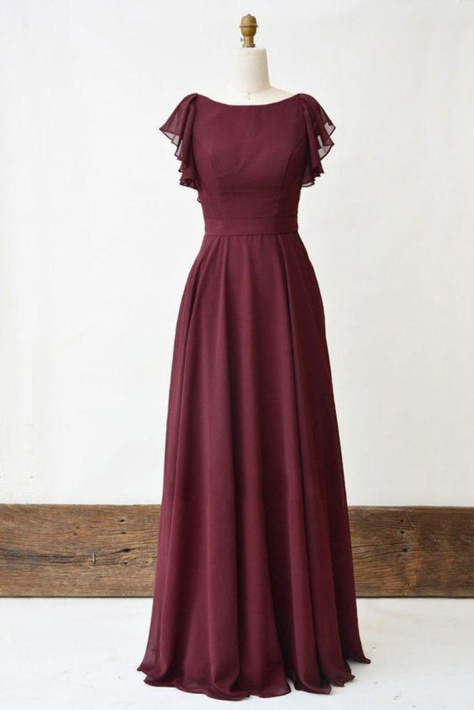 Chiffon Burgundy Cap Sleeves Evening Dress With Criss Cross Straps