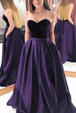 Classic Grape A-line Strapless Sweetheart Prom Dress