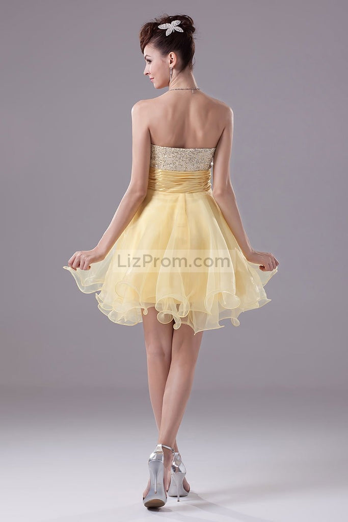 Daffodil Strapless Sequins Baby Doll Cocktail Dress1