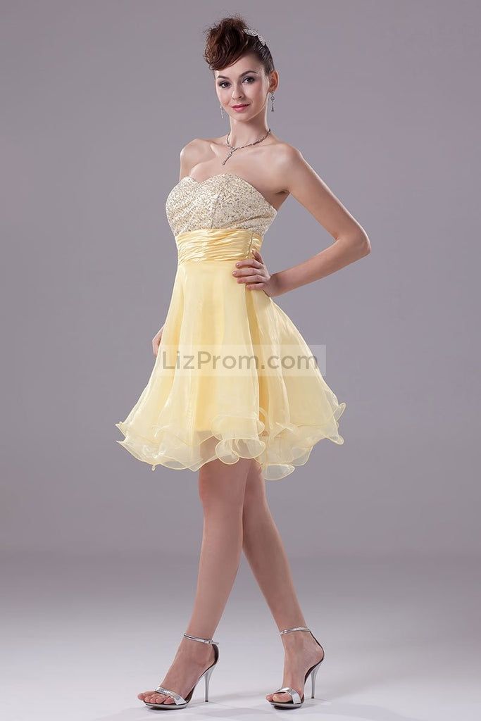 Daffodil Strapless Sequins Baby Doll Cocktail Dress2