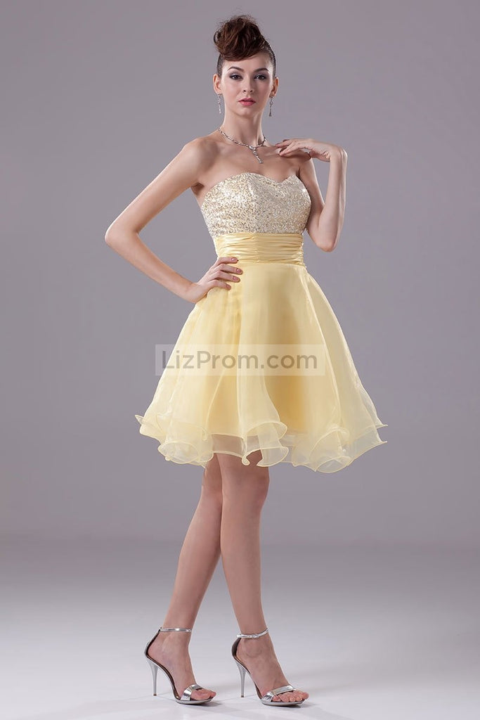 Daffodil Strapless Sequins Baby Doll Cocktail Dress3