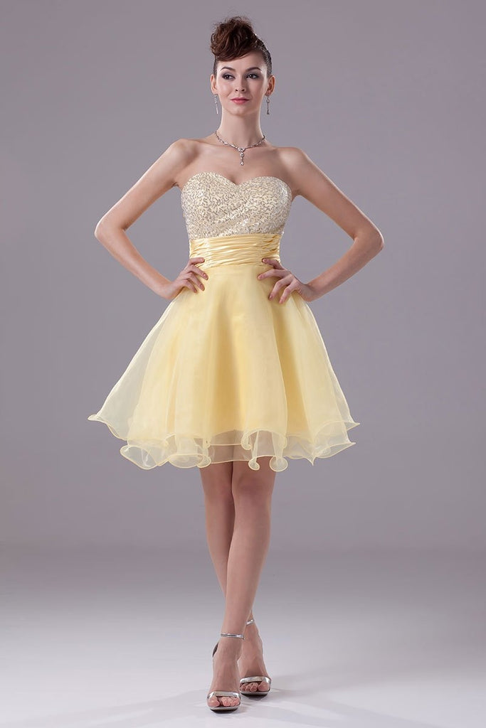 Daffodil Strapless Sequins Baby Doll Cocktail Dress