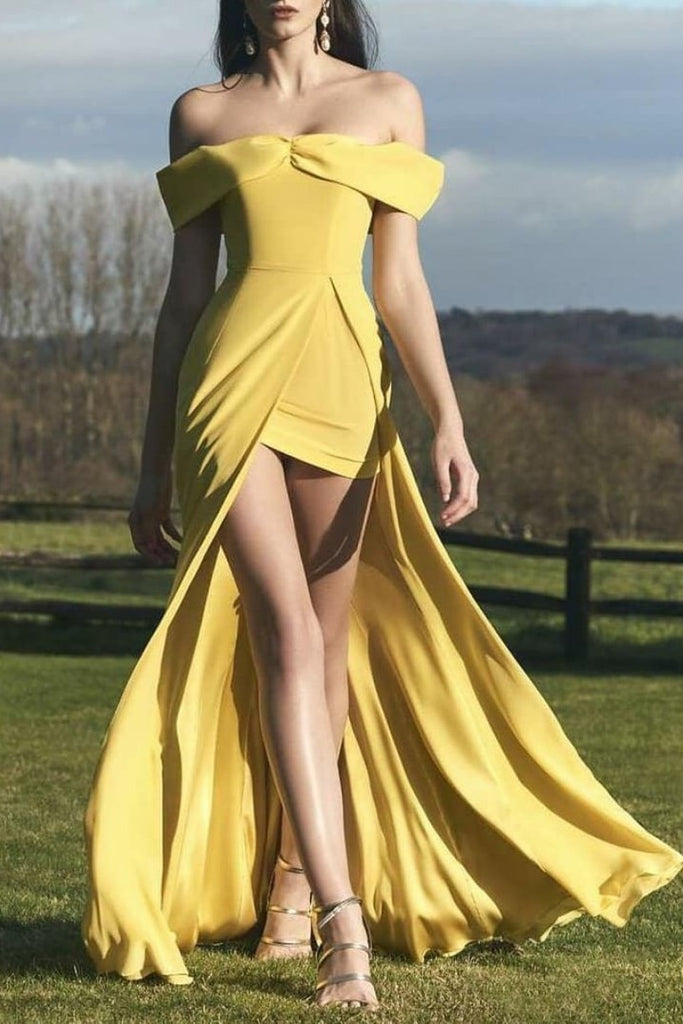 Daffodil Off The Shoulder Backless Slit A-Line Long Prom Dress Dresses