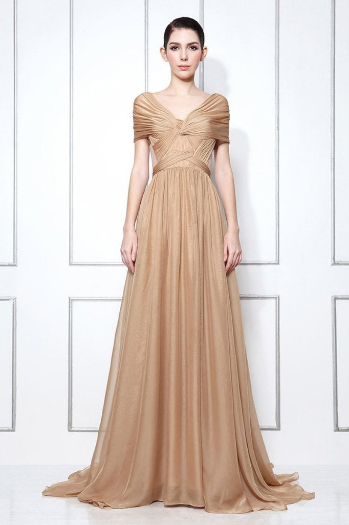 Dark Champagne Off-the-shoulder Chiffon Bridesmaid Prom Dress