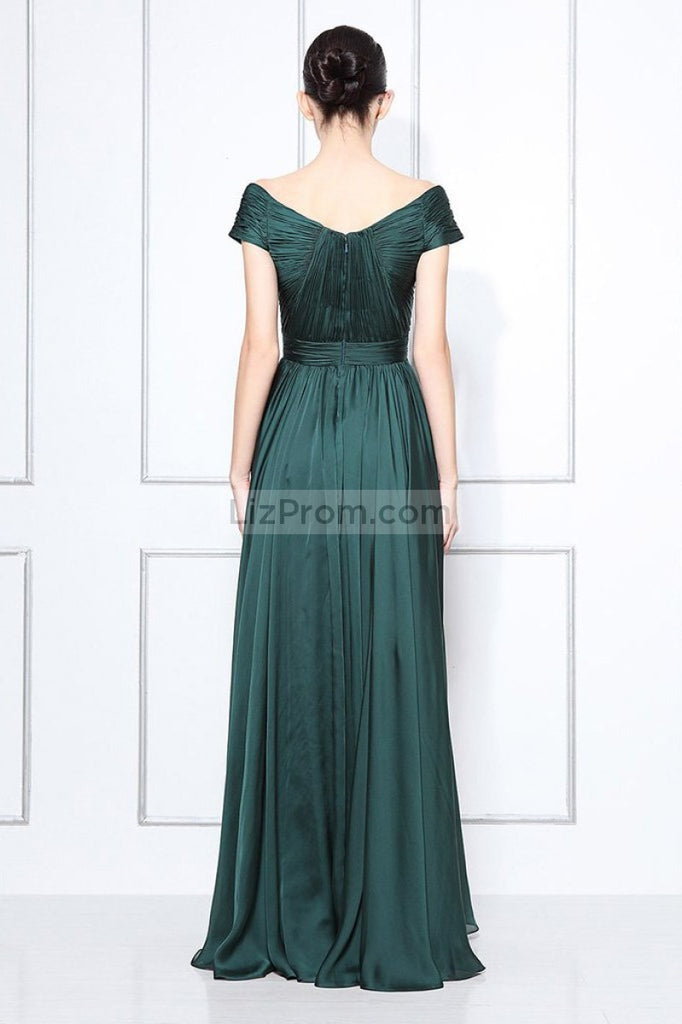Dark Green Off-the-shoulder A-line Bridesmaid Prom Dress