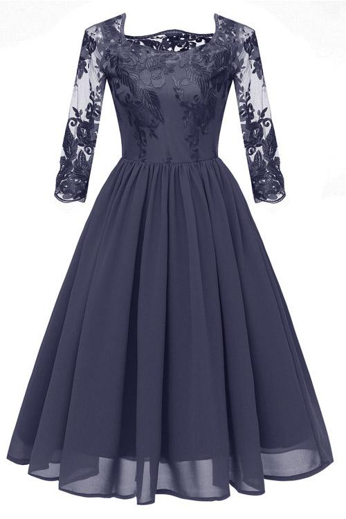 Dark Navy A-line Applique Homecoming Dress With 3/4 Sleeves