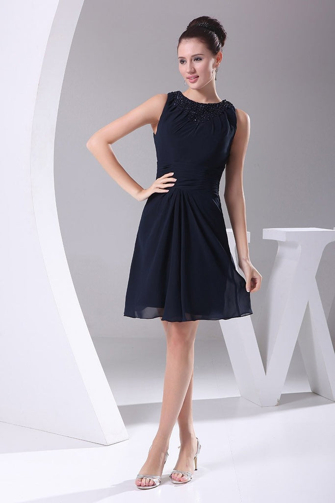 Dark Navy A-line Beaded Short Bridesmaid Graduation Dress