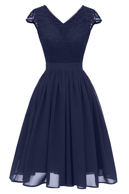 Dark Navy A-line Cap Sleeves Homecoming Dress