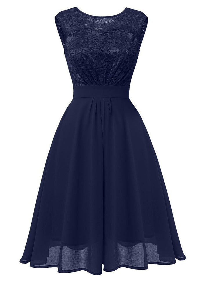 Dark Navy A-line Lace Homecoming Dress - Mislish