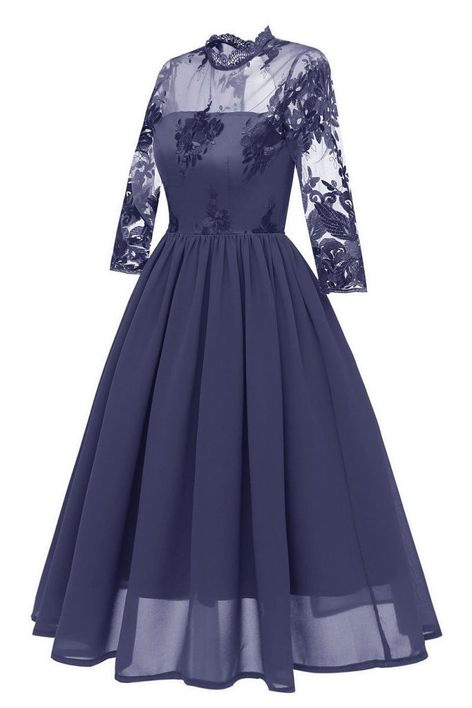 Dark Navy Cut Out A-line Homecoming Dress With Appliques