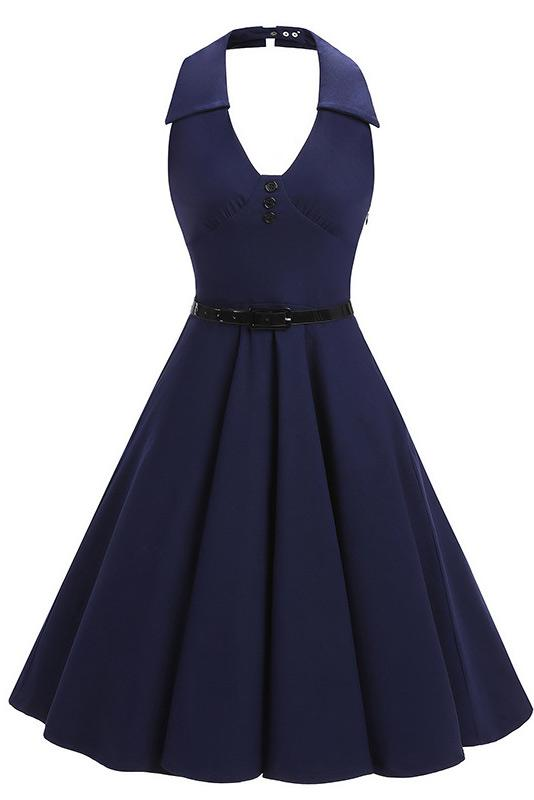 Dark Navy Halter Fit And Flare Homecoming Dress