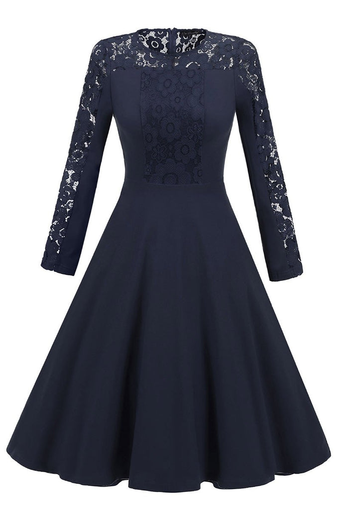 Dark Navy Lace Fit And Flare Prom Dress With Long Sleeves