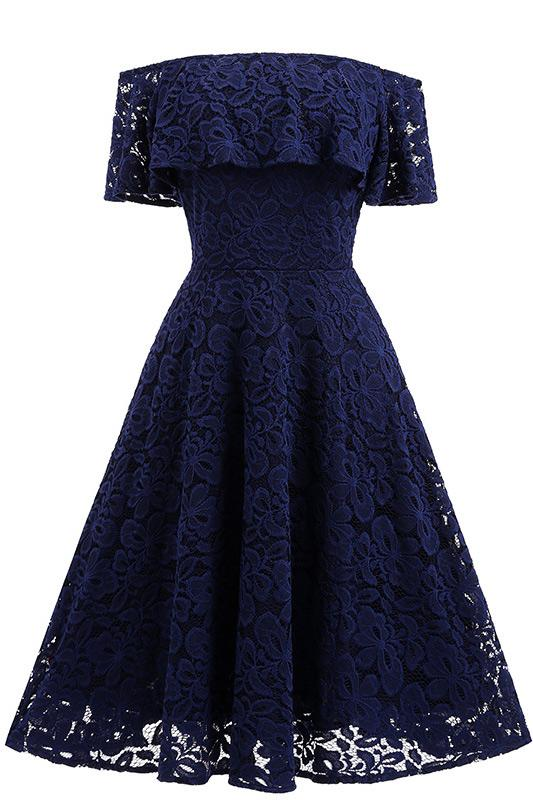 Dark Navy Lace A-line Homecoming Dress