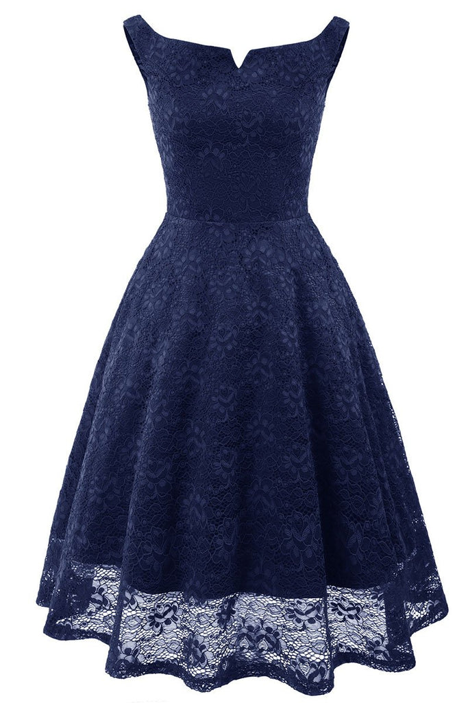 Dark Navy Off-the-shoulder Lace Homecoming Prom Dress