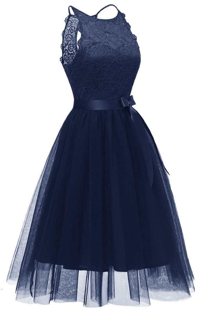Dark Navy Sleeveless Cut Out A-line Prom Dress