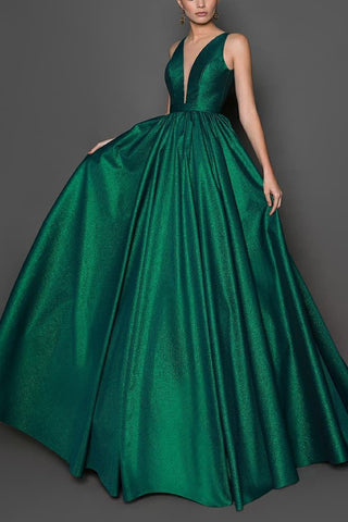 Dark Green Deep V-neck Sleeveless Evening Ball Gown