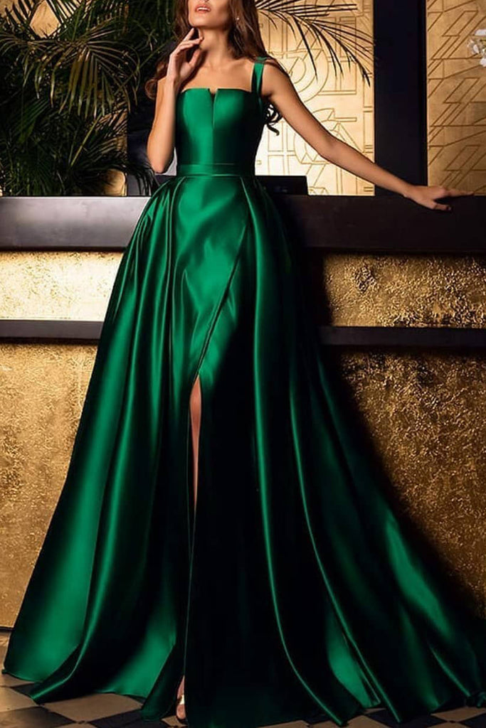 Dark Green Square Neck Backless Sleeveless Slit Ball Gown