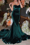 Dark Green Mermaid Sweetheart Strapless Evening Formal Dress