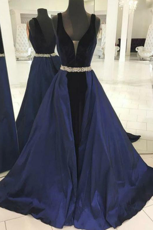 Dark Navy Backless A-line V-neck Beaded Velvet Evening Prom Dress