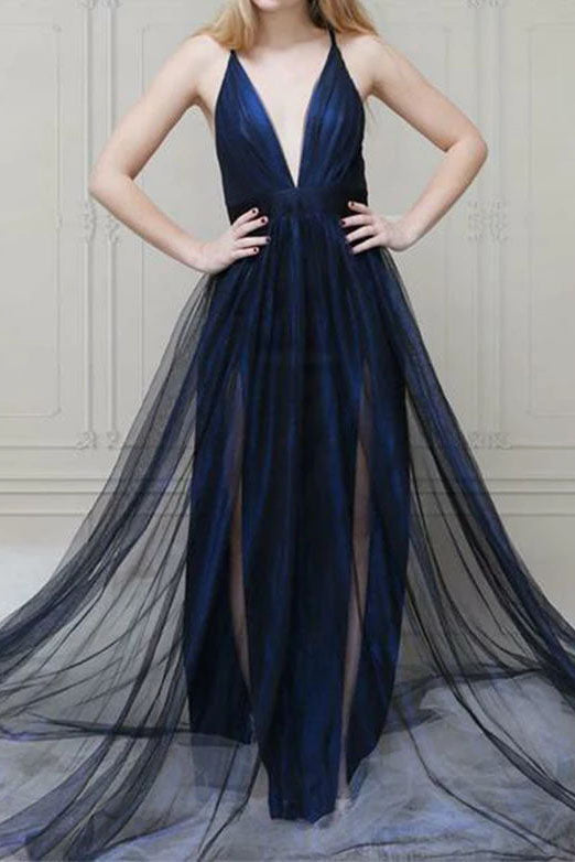 Dark Navy Deep V-neck Slit Ruffled Long Evening Prom Dress