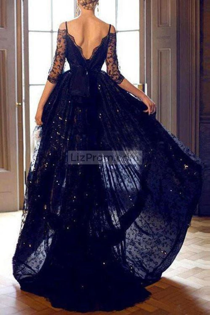 Dark Navy High Low Off The Shoulder Rhinestone Lace Satin Evening Prom Dress Dresses
