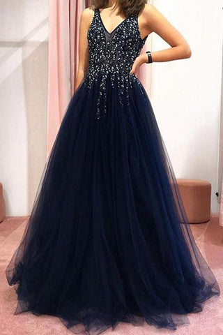 Dark Navy V-neck Beaded Tulle Evening Long Prom Dress