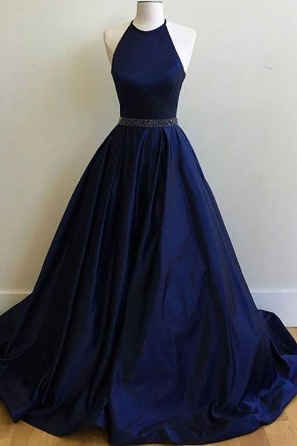 Dark Navy Elegant A-Line Halter Evening Ball Gown Prom Formal Dresses