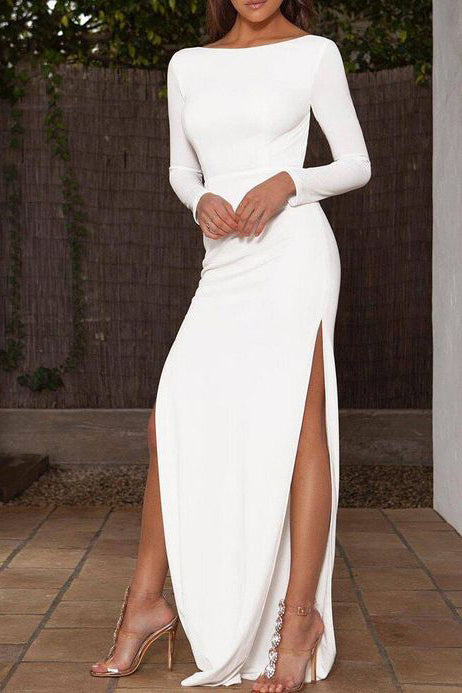 Sexy White Thigh-high Slit Prom Dress With Sleeves
