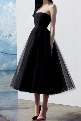 Elegant Black Strapless Tulle A-Line Cocktail Party Dresses